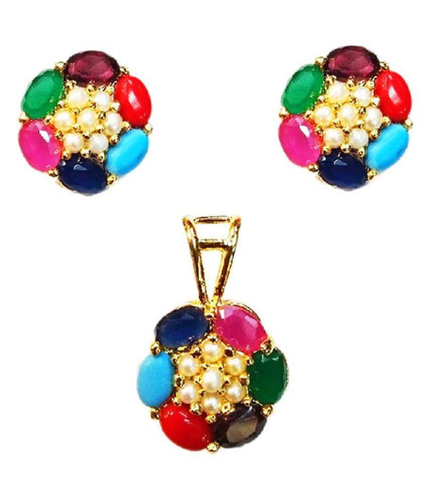 Vinayak Rajasthani Navratan Real Pearls pendant set (Oval)