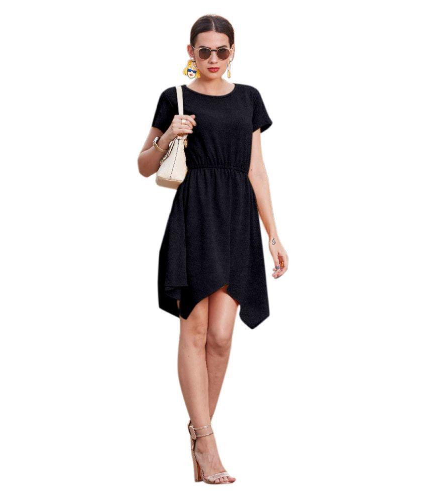 SK Creation Georgette Black Skater Dress