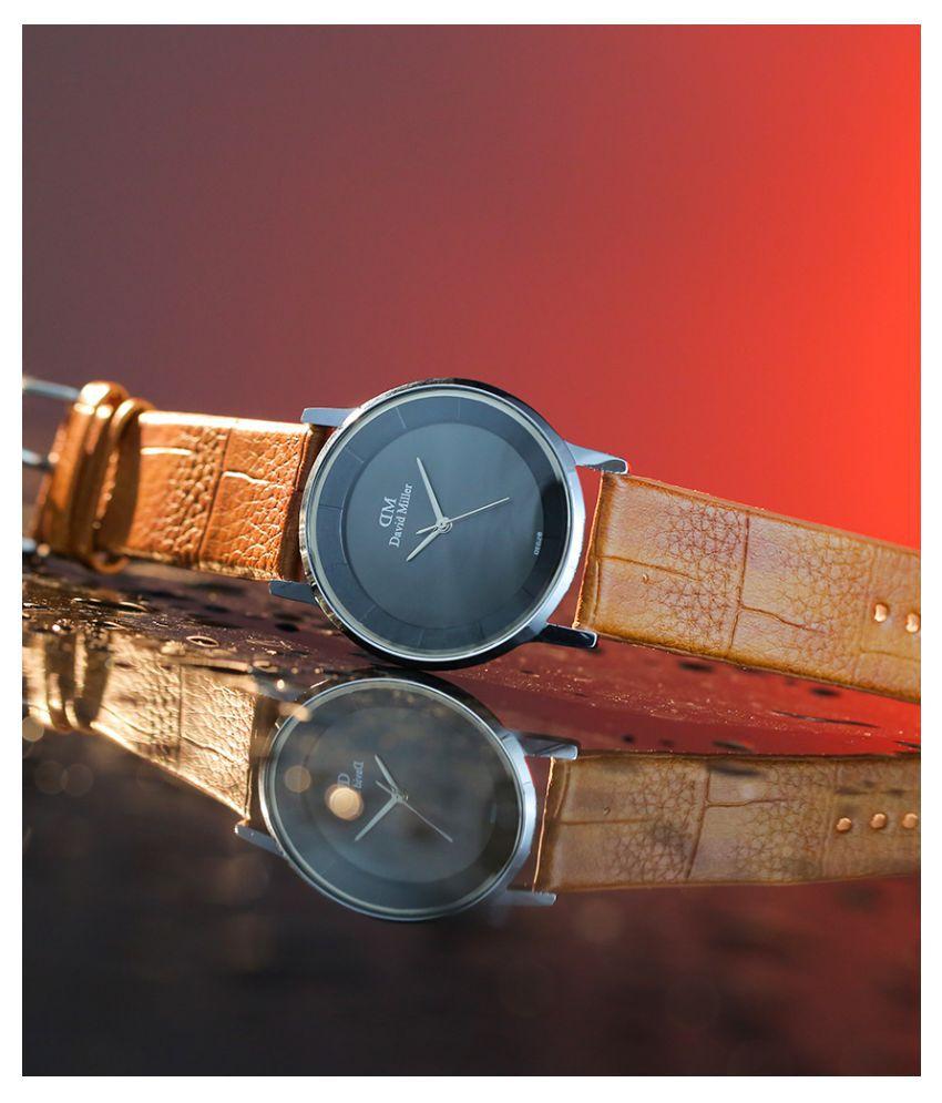 David Miller Black Dial Brown PU Leather Strap Men's Watch - DMRCM206