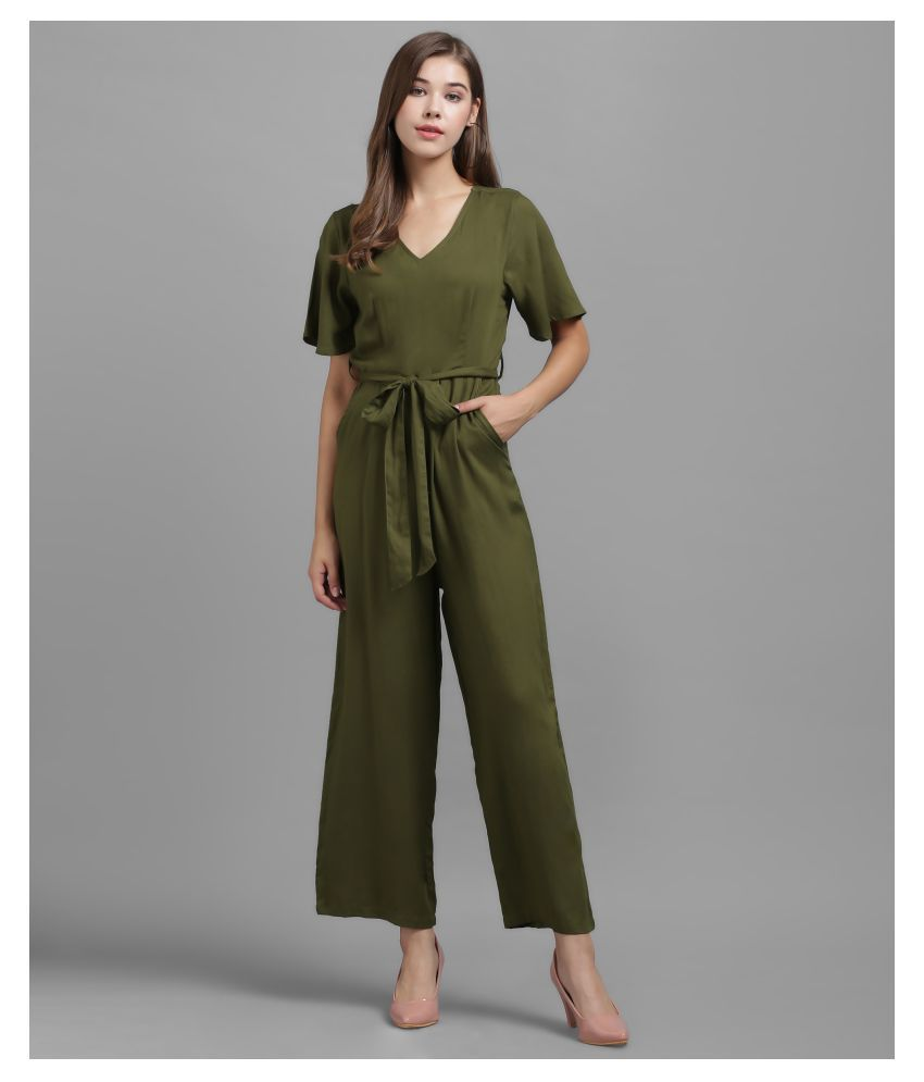 The Dry State Green Rayon Jumpsuit