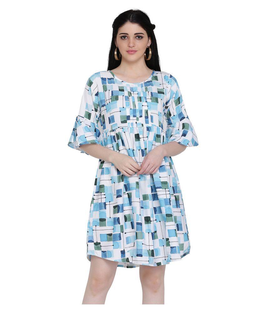 manisha Fashion Poly Satin Blue Regular Dress