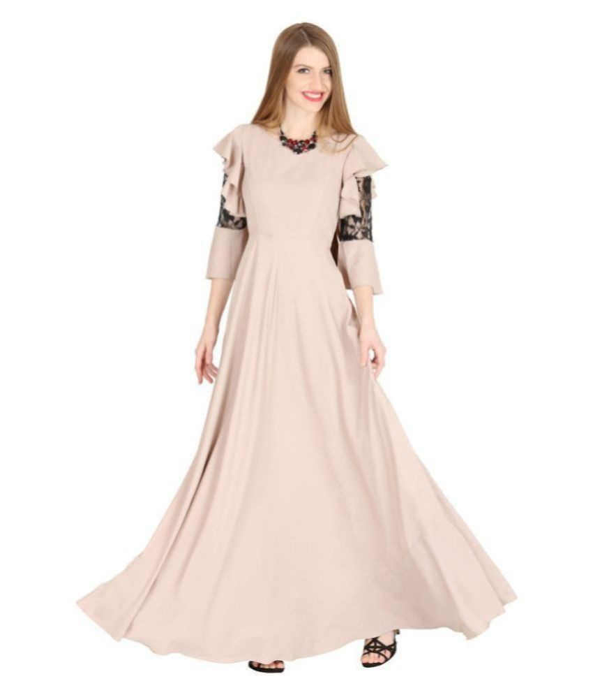 Raas Crepe Beige Fit And Flare Dress