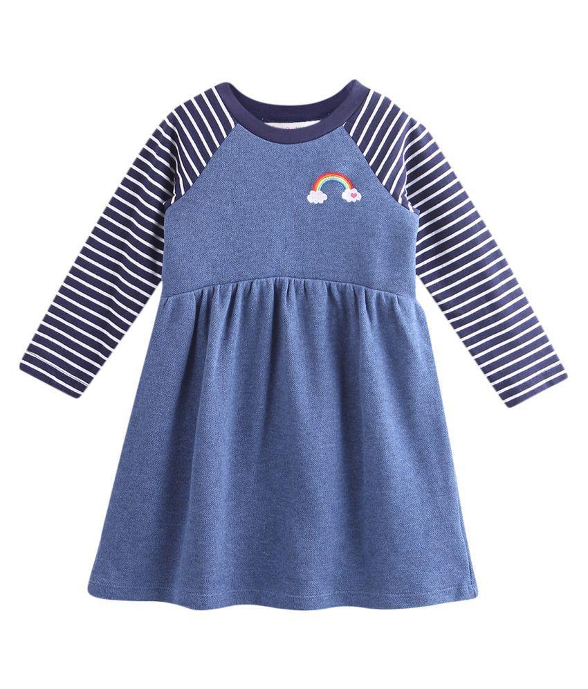 Rainbow Embroidery Dress Blue 12-18M