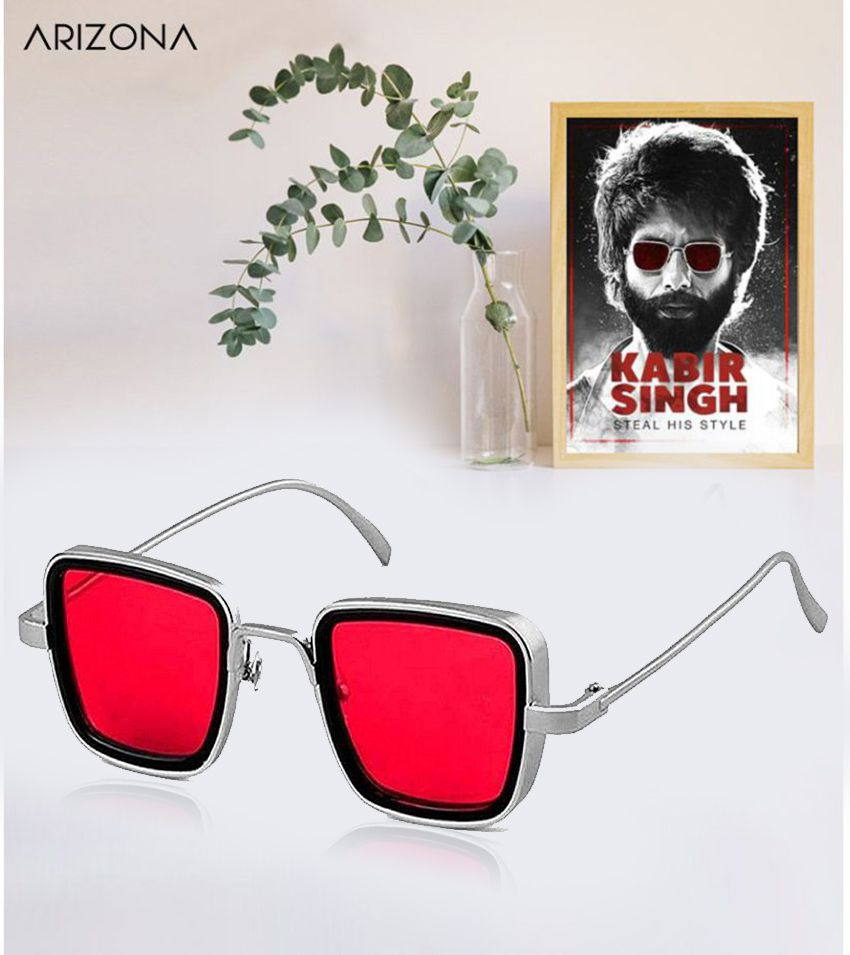 Arizona Sunglasses - Kabir Singh Red Polycarbonate lens Suqare Metal Frame for Men and women 4042