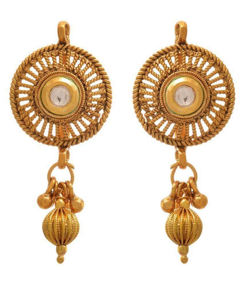 JFL - Jewellery for Less Traditional Ethnic One Gram Gold Plated Kundan Designer Earring for Women