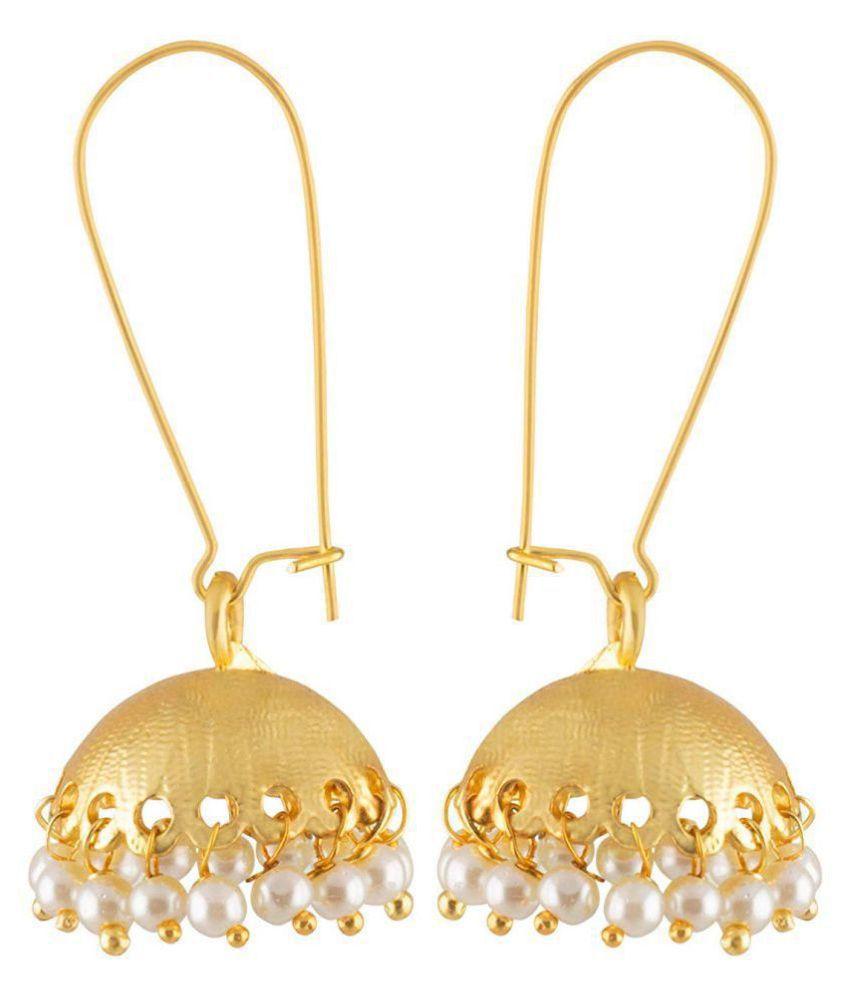 JFL-Stylish Traditional Gold Plated Pearl Designer Jhumki Earrings For Women