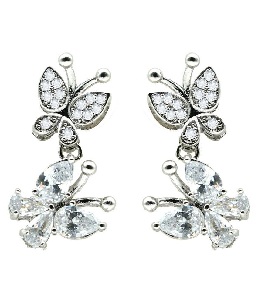 Kiyara Accessories Fashion Jewellery Silver Love Duo Butterfly Earring for Women and Girls.