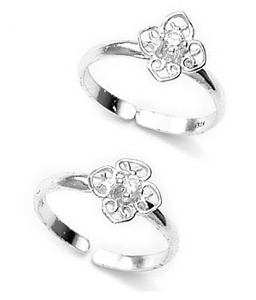 Patola Floral CZ Toe Ring-TR178