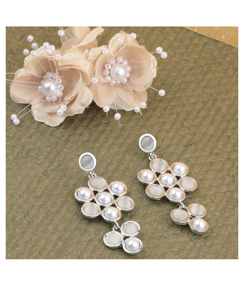 Fashion Stylish Silver Pearl Earring For Women Girl