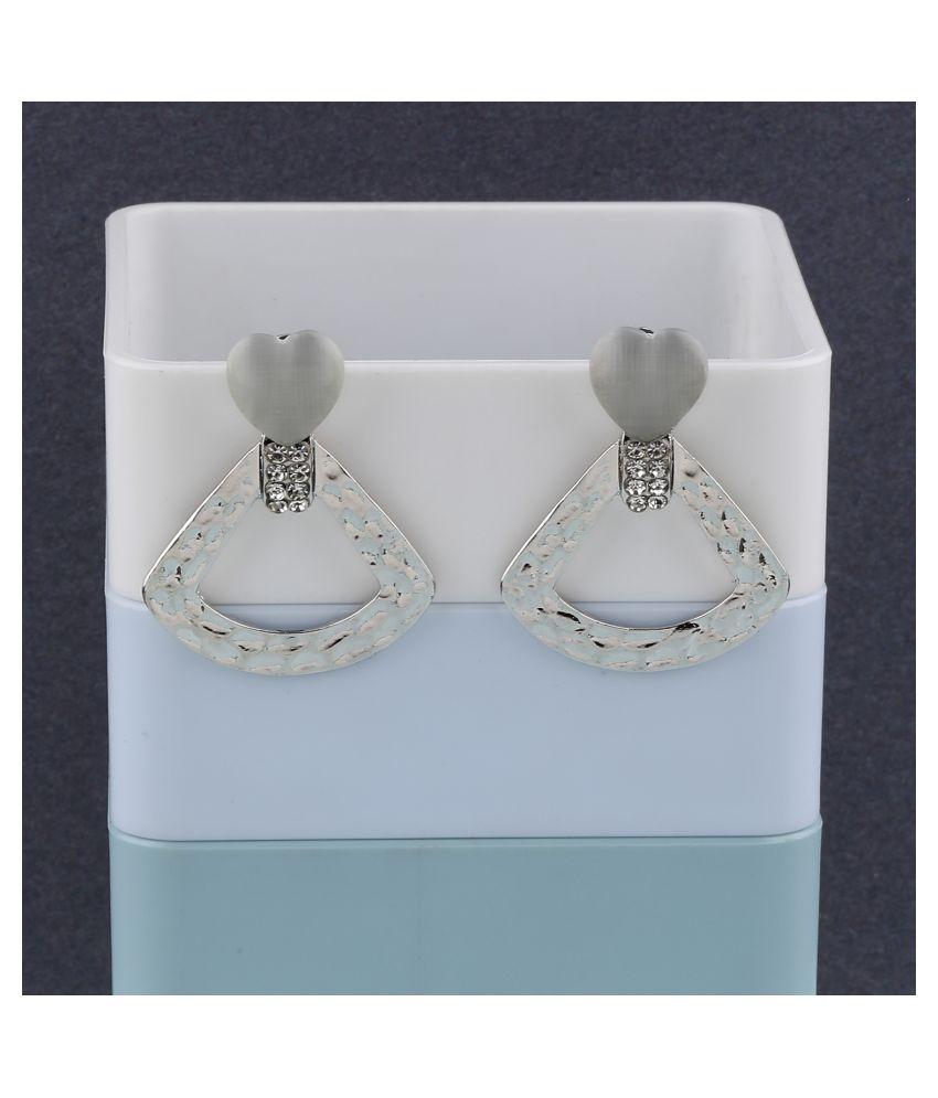 Silver Plated Fashion Heart Shape Diamond Dangle Earring For Women Girl