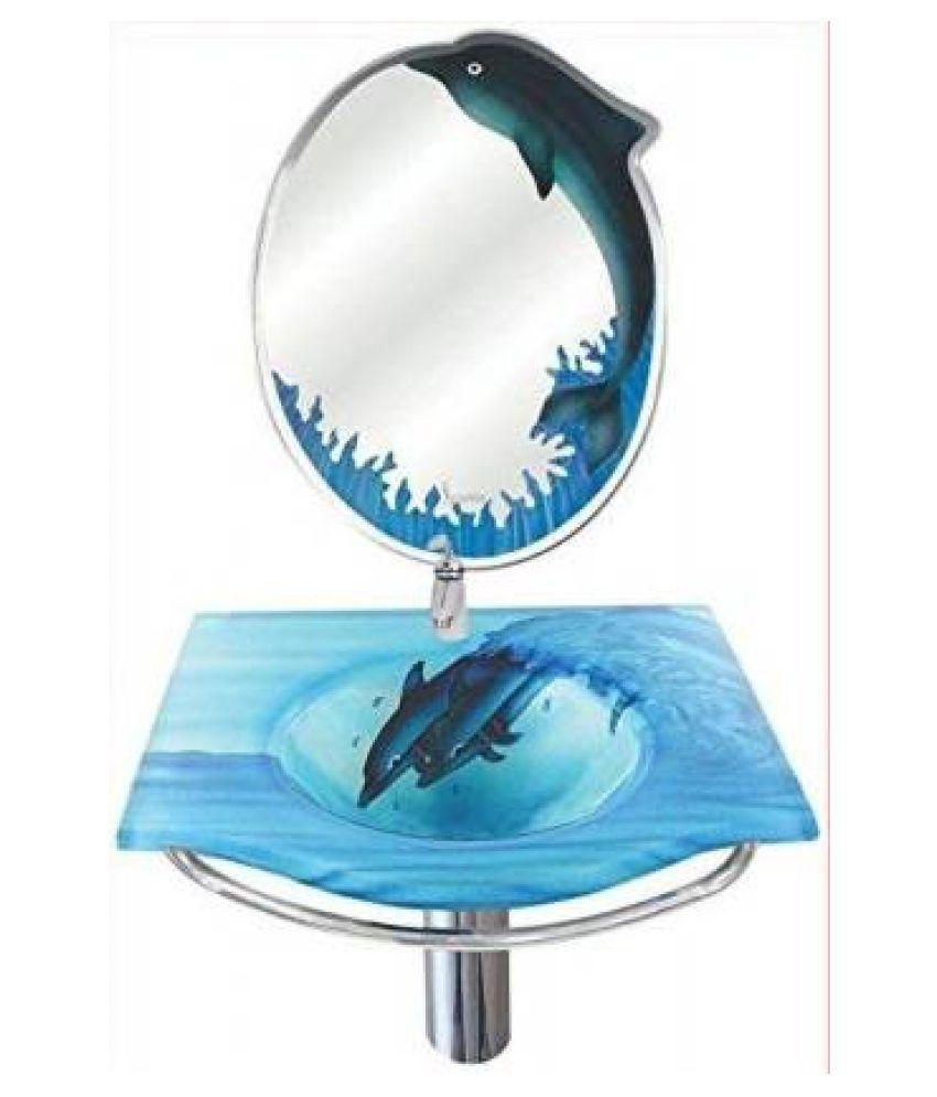 ARVIND SANITARY PVT LTD Blue Toughened Glass Wall Hung Wash Basins