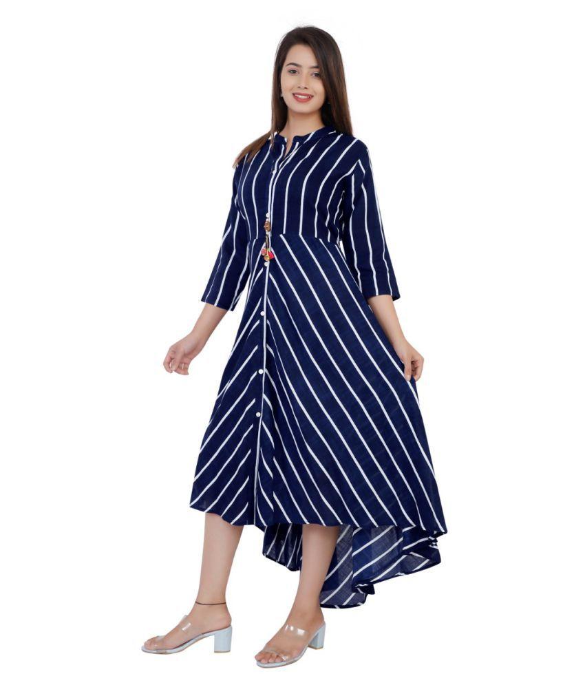 VEXMON Rayon Blue Asymmetric dress
