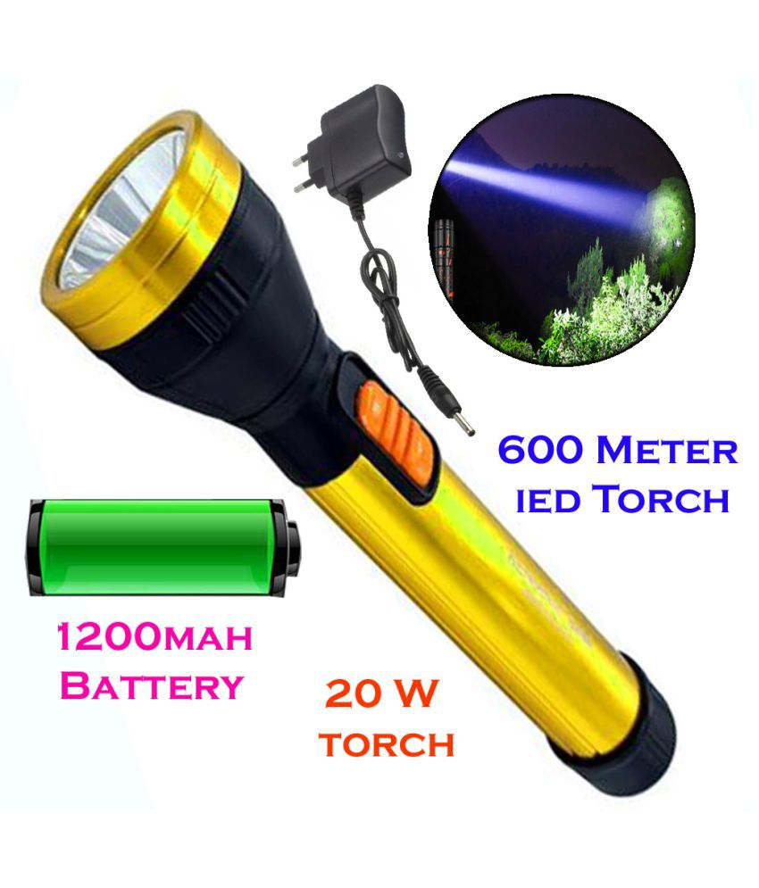 Style 600 Meter Long Range 2 Mode Rechargeable Torch 20 W Flashlight Torch 20W Flashlight Torch Long Range 2 Mode - Pack of 1