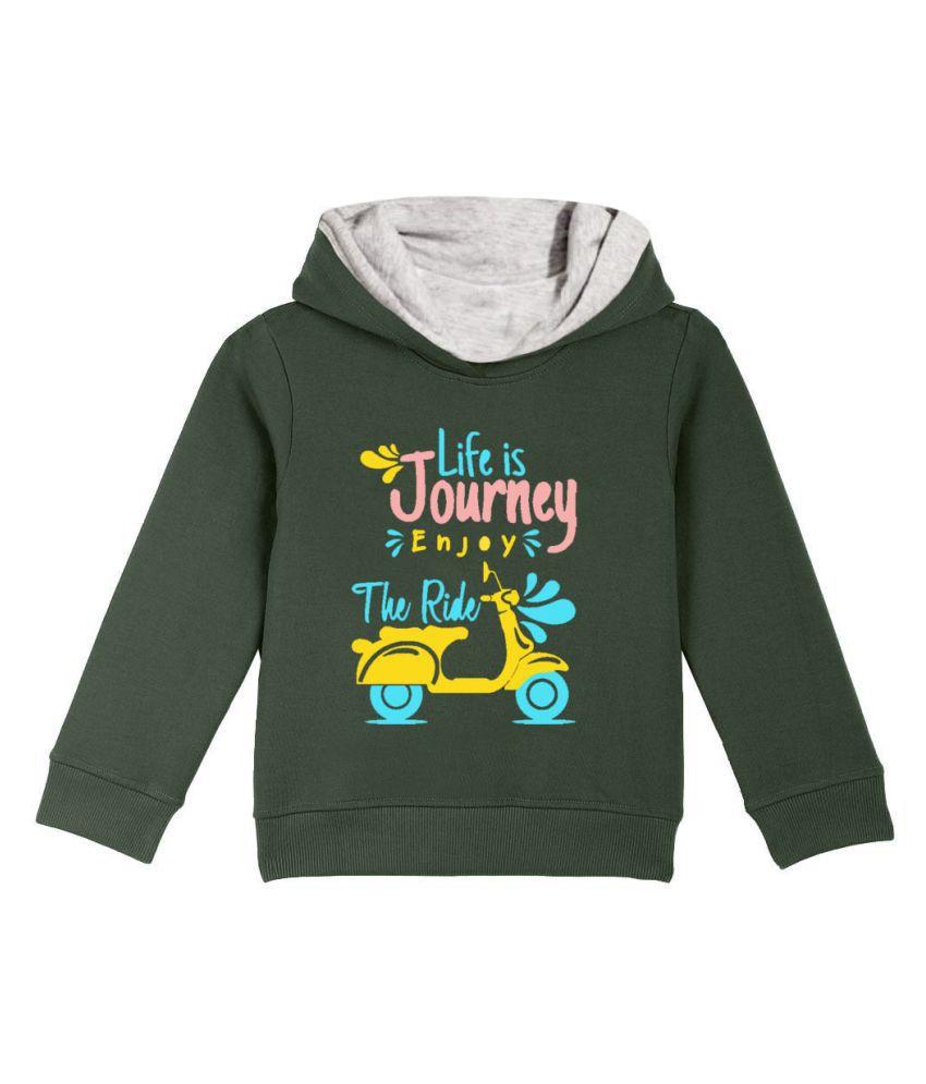 Naughty Ninos Boys Green  Printed Hooded Sweatshirt