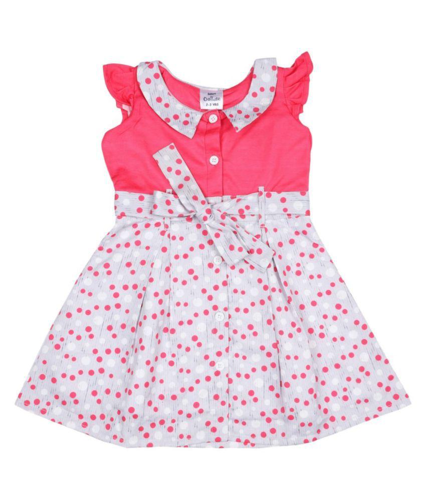 Doodle Pink Coloured Cap Sleeve Dress for Girls