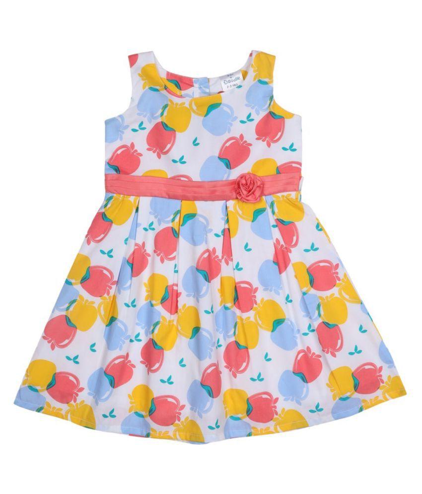 Doodle White Coloured Sleeveless Dress for Girls