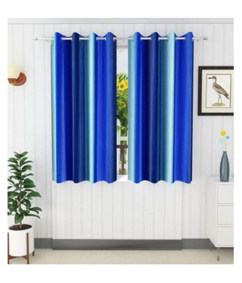 KD HOME FURNISHING Set of 2 Door Semi-Transparent Eyelet Polyester Curtains Red