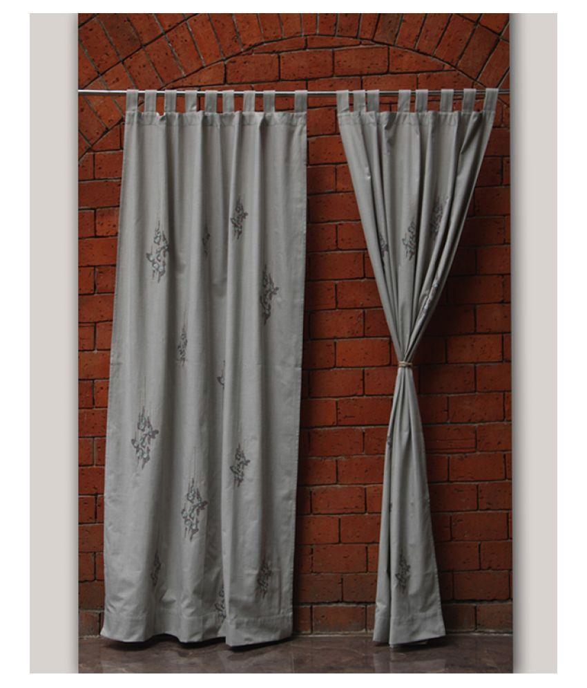 Zeba Single Door Loop Cotton Curtains Grey