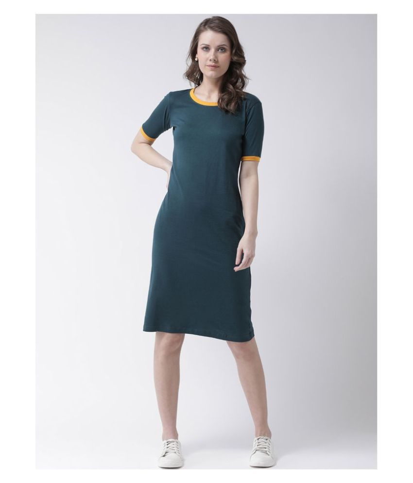 The Dry State Cotton Green T-shirt Dress