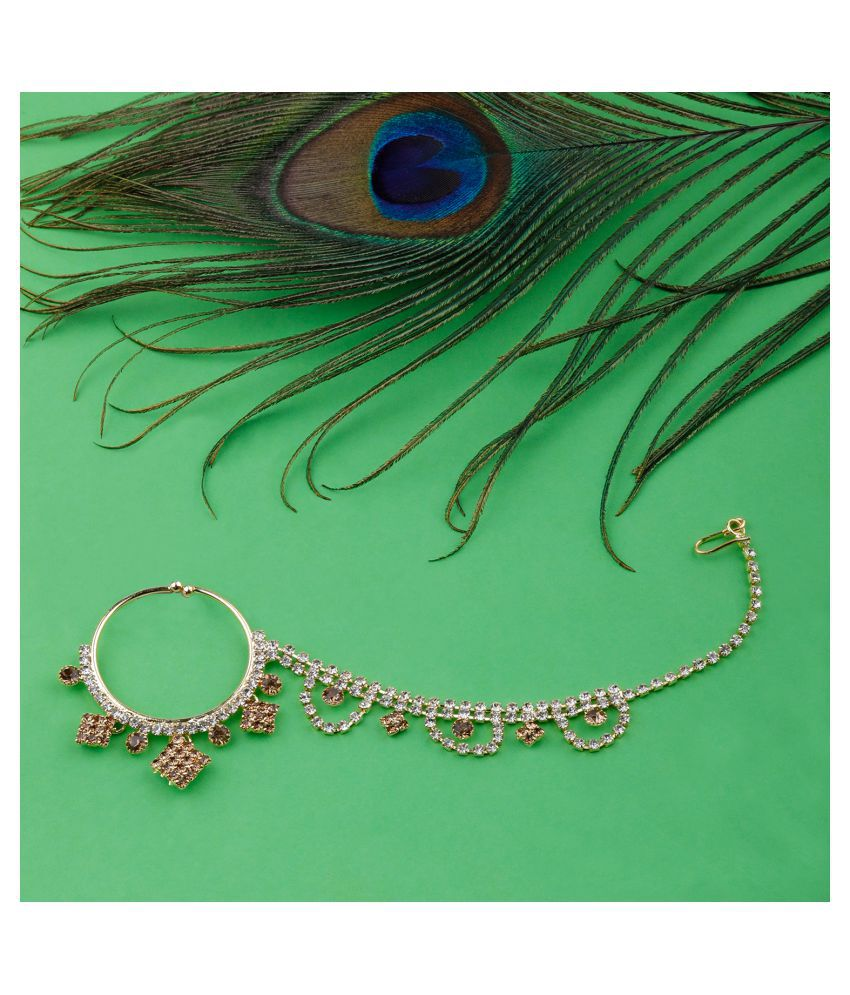 Traditional Gold Plated Antique Golden  Diamond Studded Designer Wedding Nose Ring for Girls And Women Jewellery