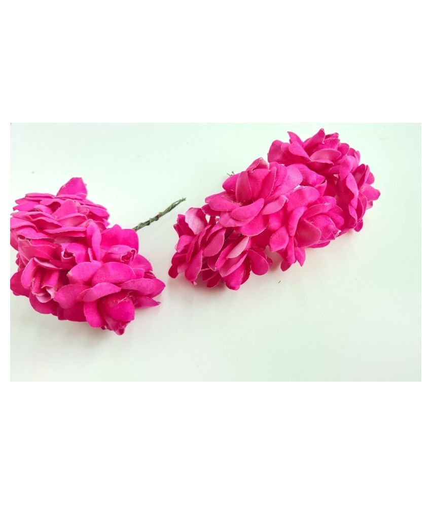 12pcs Pink Color Artificial Flowers for Diwali & Room Decoration