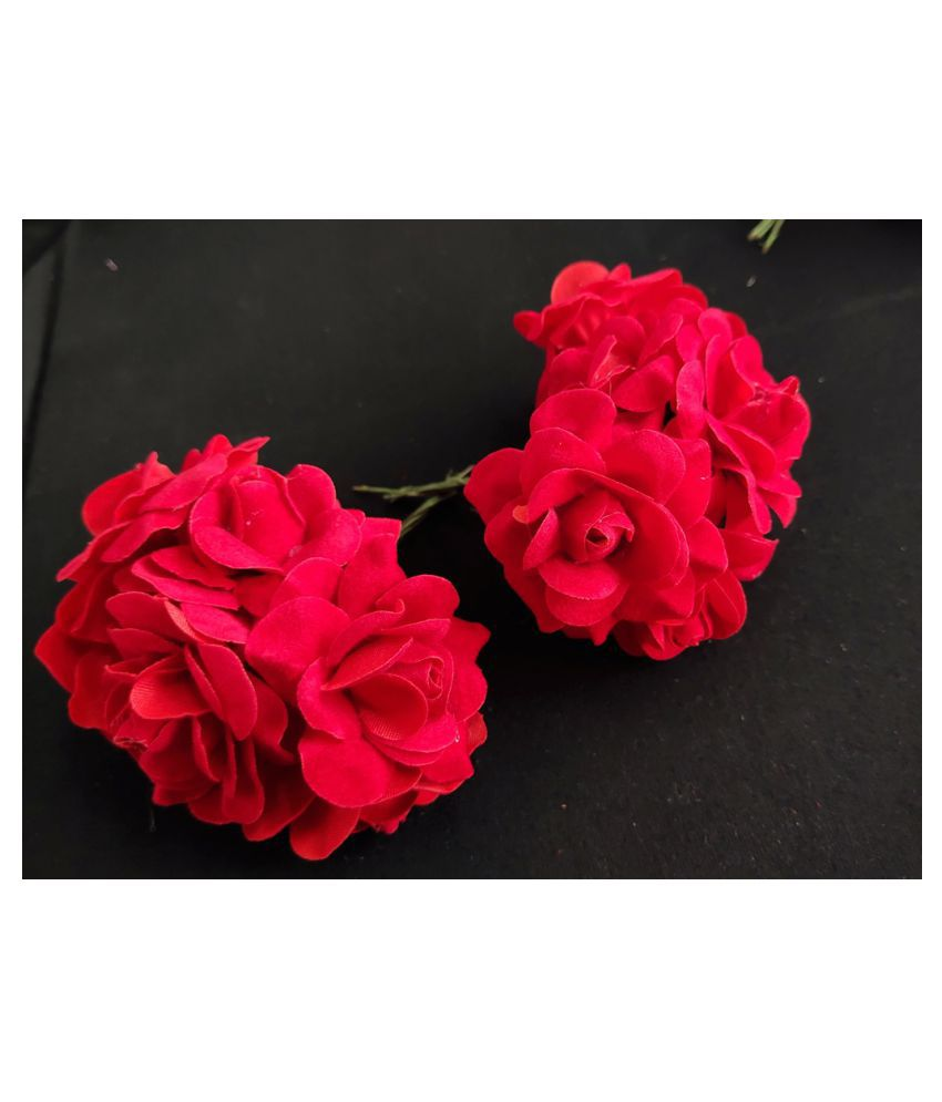 5pcs Red Color Artificial Flowers for Diwali & Room Decoration