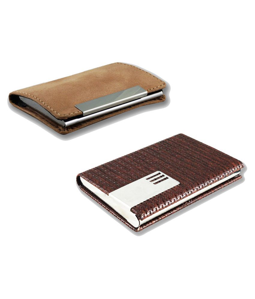 Auteur VCH2-17 Multicolor Artificial Leather Professional Looking Visiting Card Holders for Men and Women Set of 2 (upto 15 Cards Capacity)