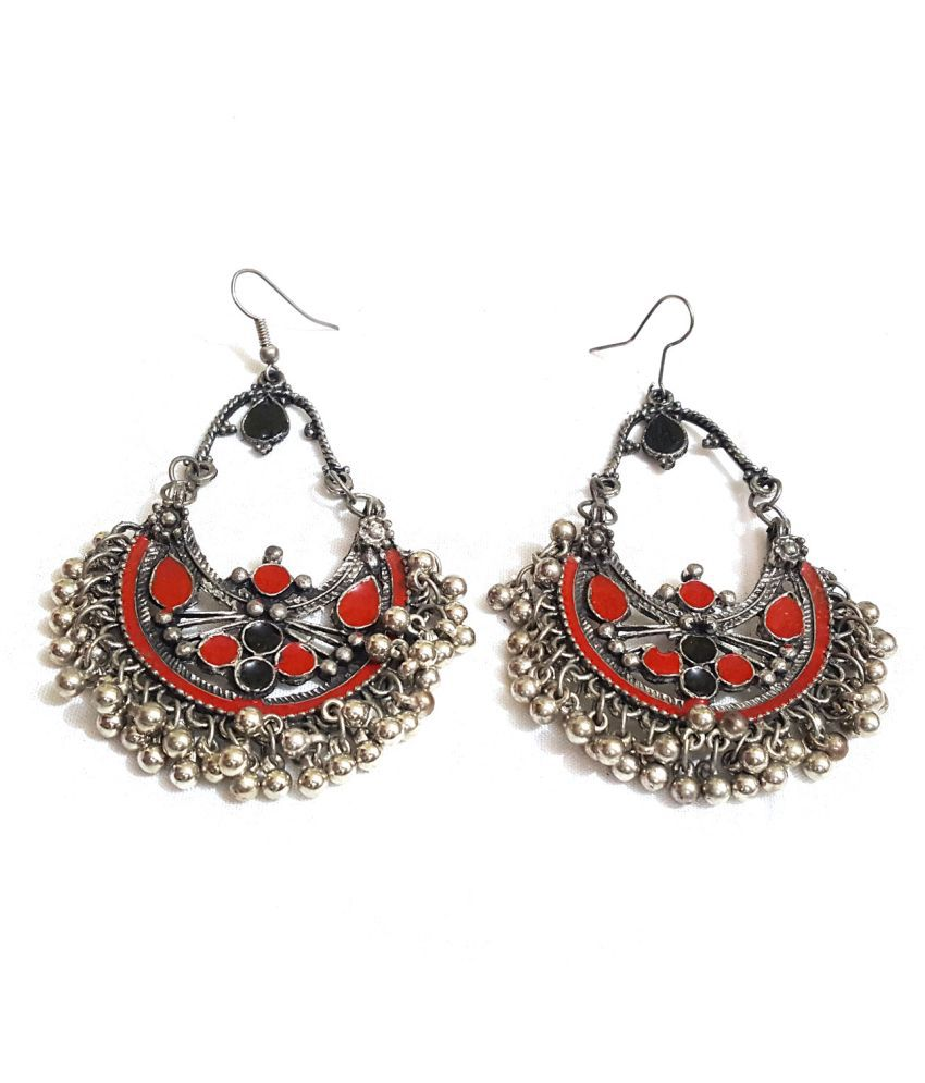 Classy Plus Contemporary Afghani Silver Earrings for Women & Girls (Red&black)…