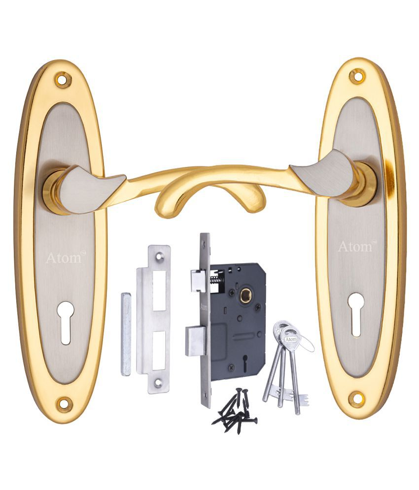 Atom Mortise Door Lock 412 K.Y. 7 Inch Mortice Handle Pair in Silver Gold Finish with Legend 65 mm Brass Dead Bolt Double Action 6 Lever Lock.
