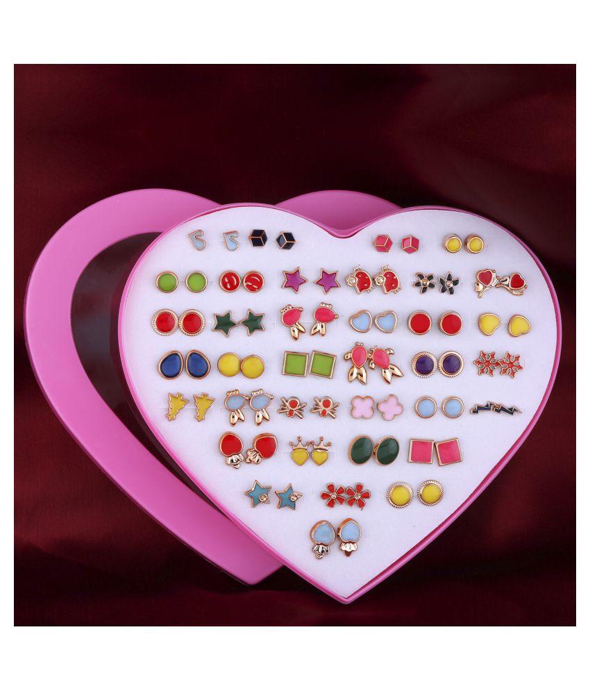 Stud Earring Multi colour Set of 36 Earrings for Women…