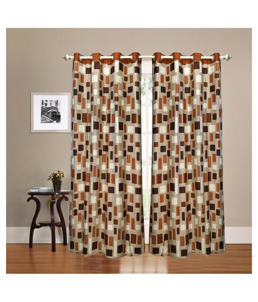 gold decor Single Door Semi-Transparent Eyelet Polyester Curtains Brown