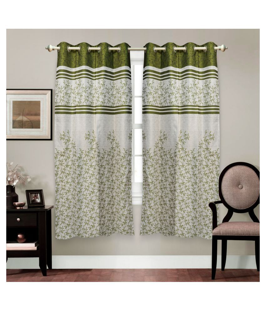 gold decor Single Door Semi-Transparent Eyelet Polyester Curtains Green