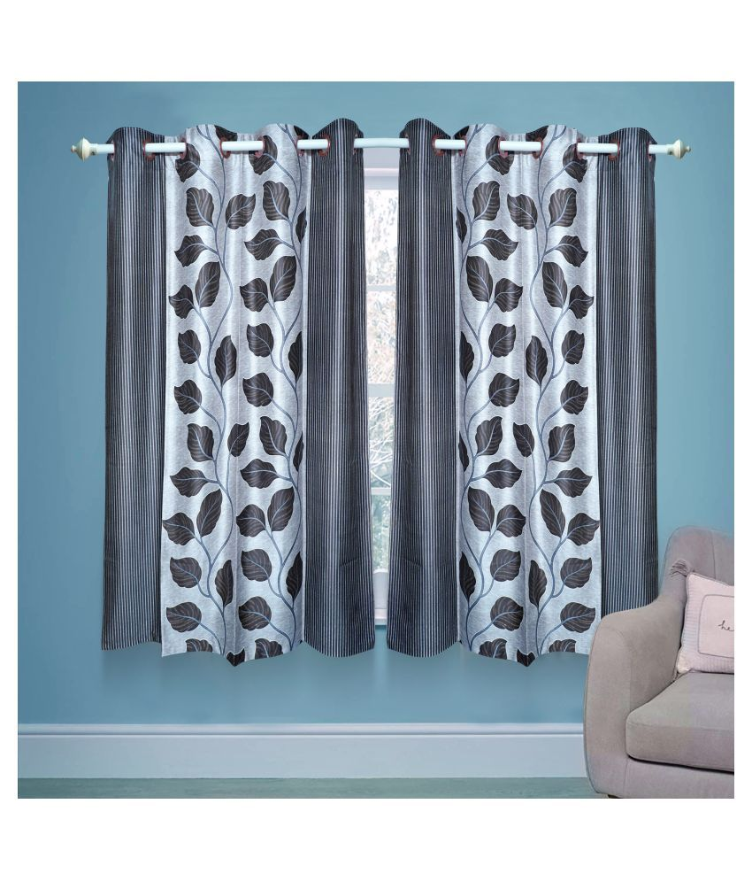 gold decor Single Window Semi-Transparent Eyelet Polyester Curtains Silver