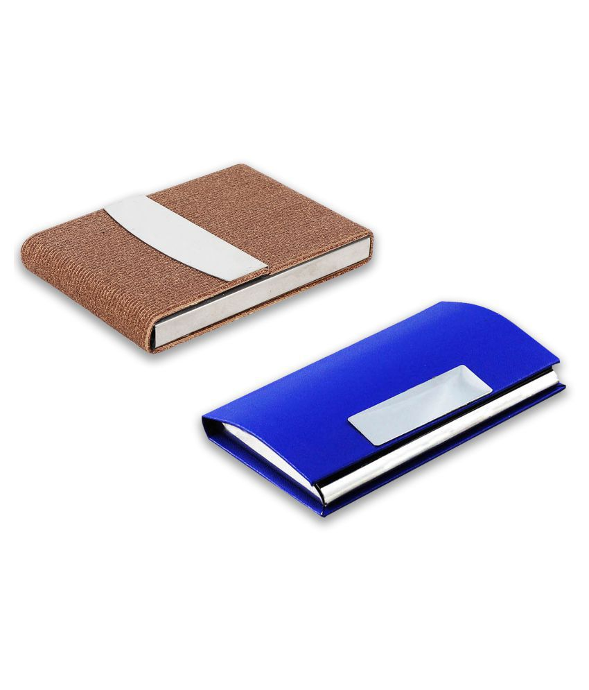 Auteur  4-54 Multicolor Artificial Leather Professional Looking Visiting Card Holders for Men and Women Set of 2 (upto 15 Cards Capacity)