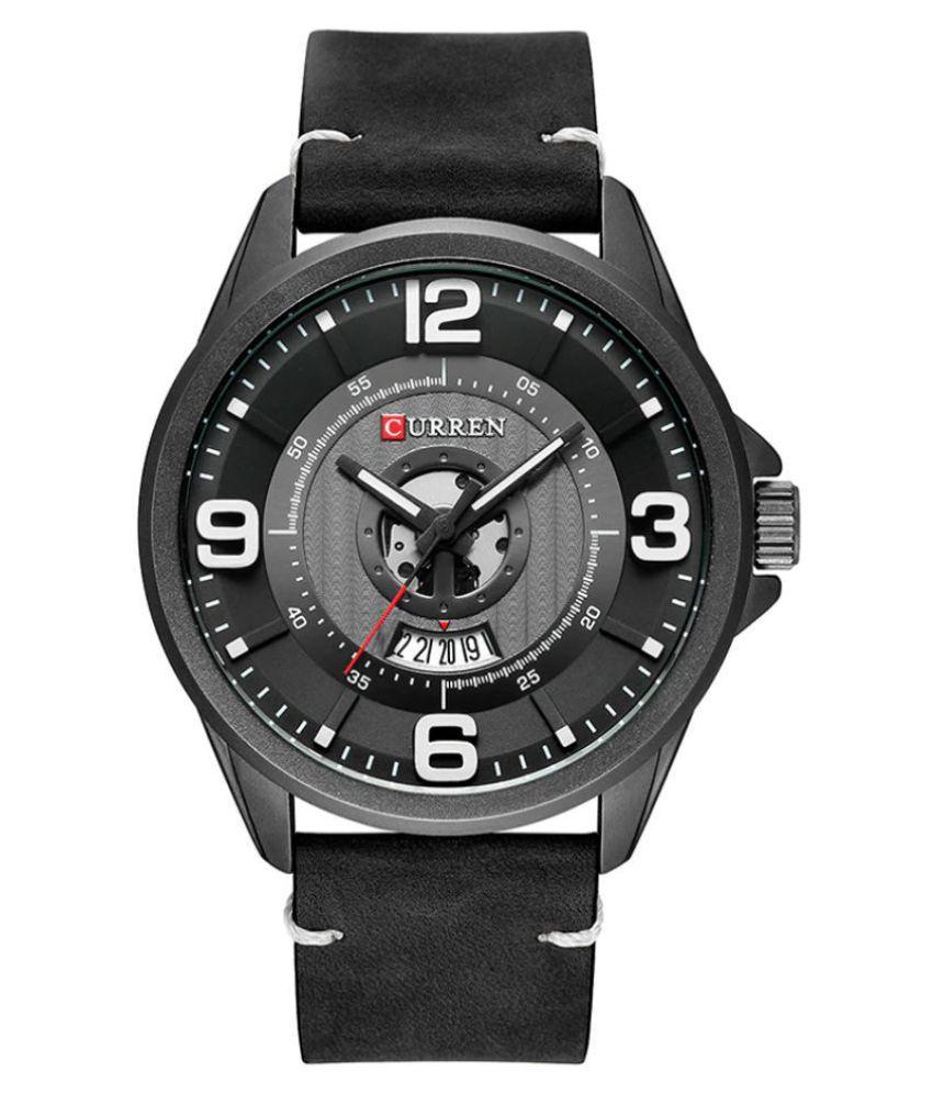 Curren CR 8305 Black PU Analog Men #039;s Watch