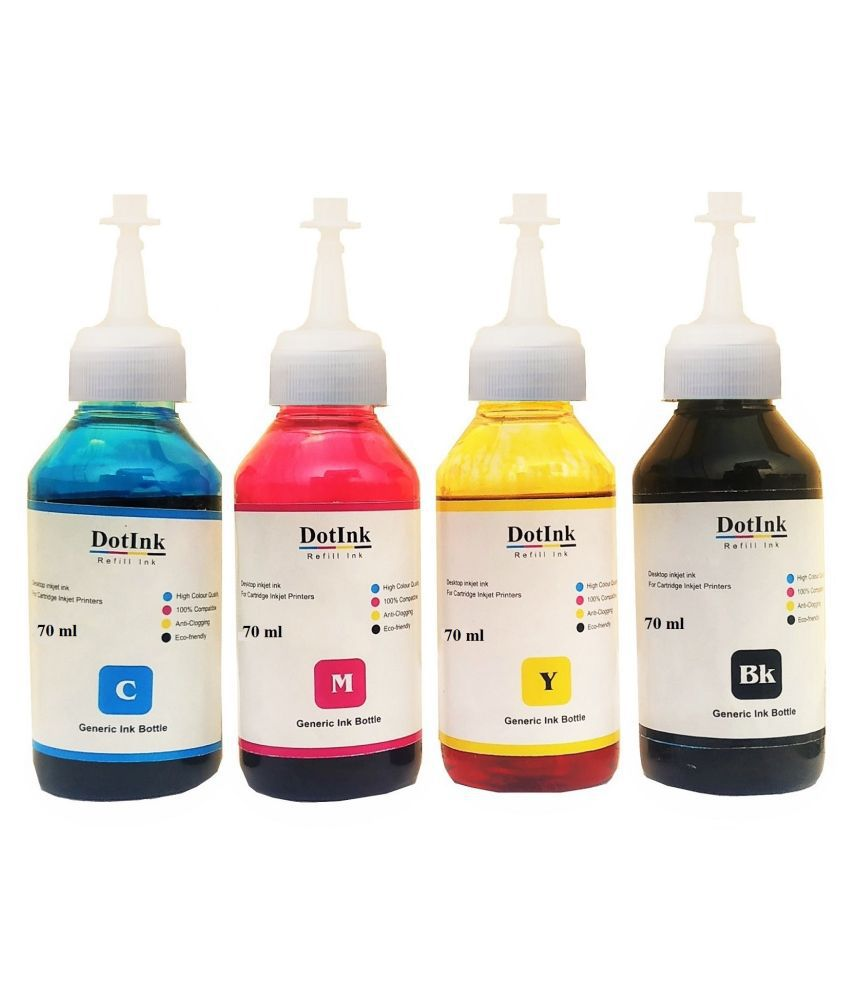 DOTINK Epson L Series 70 ml Multicolor Pack of 4 Ink bottle for Compatible L1300, L110, L130, L210, L220, L310, L360, L365, L405, L465, L485, L565, L6