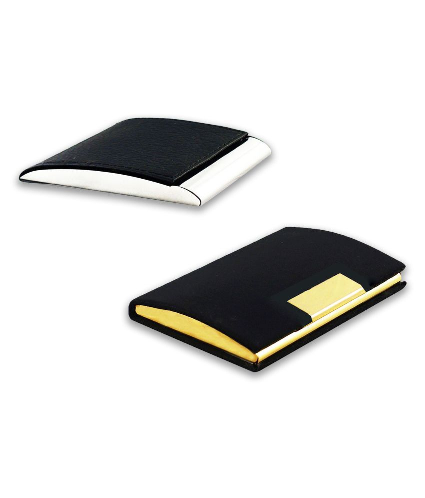 Auteur VCH3-62 Multicolor Artificial Leather Professional Looking Visiting Card Holders for Men and Women Set of 2 (upto 15 Cards Capacity)