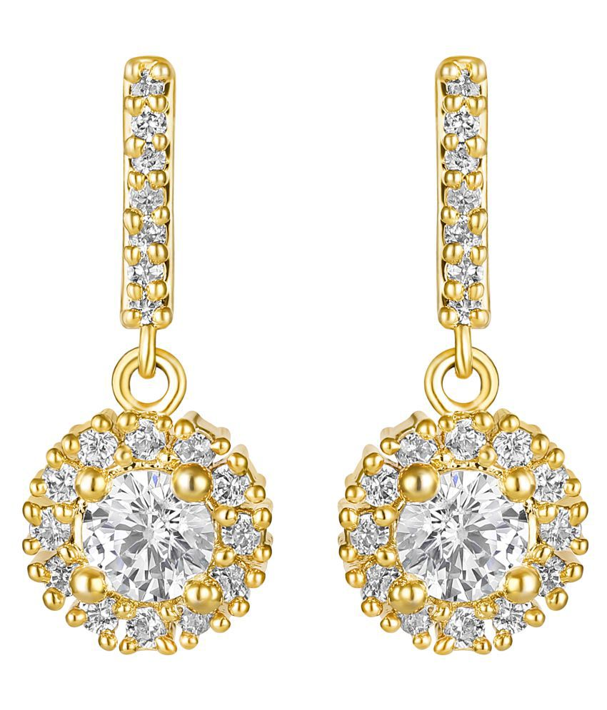 Lifestyle Enjoyable Round Stone Brass Gold Plated AD Drop Earring For Women