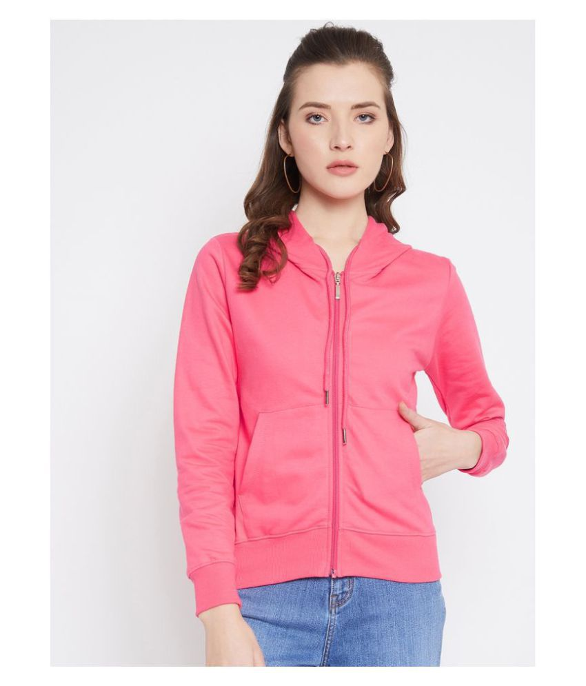 fashtantic Cotton Pink Hooded Sweatshirt