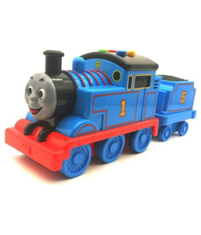 Battery Operated Train Engine Carrier Toy with Friction Powered, Light and Sound Effects