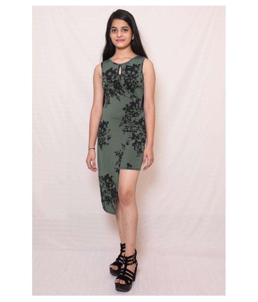 ARRICK FASHION Linen Green A- line Dress