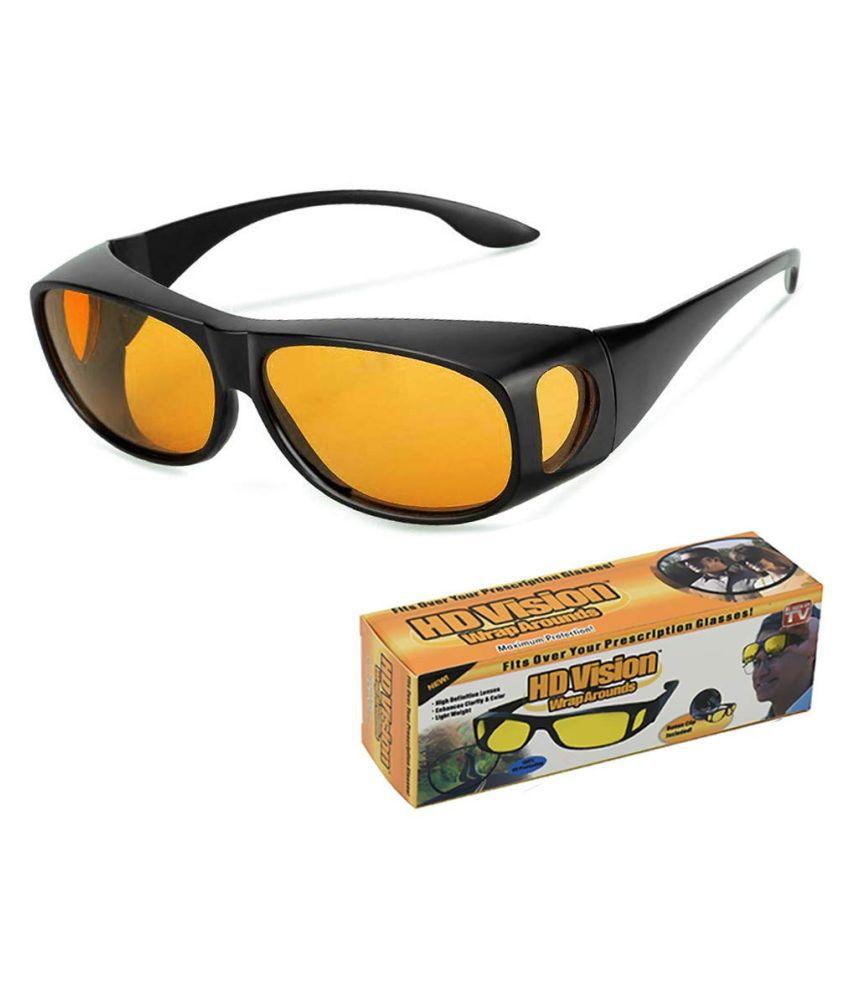 Wrap Around Day and Night Driving Hd Vision Anti Glare Sunglasses (yellow)