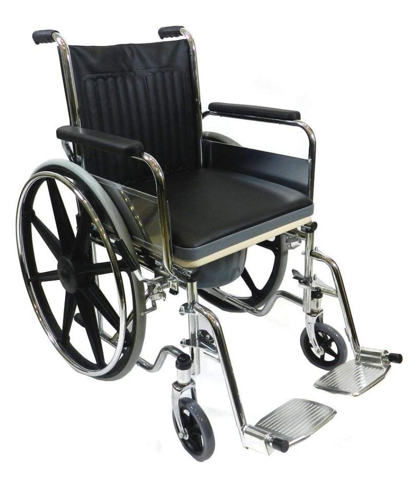 VMS Foldable Commode Wheelchair with Safety Belt Manual Wheel Chair