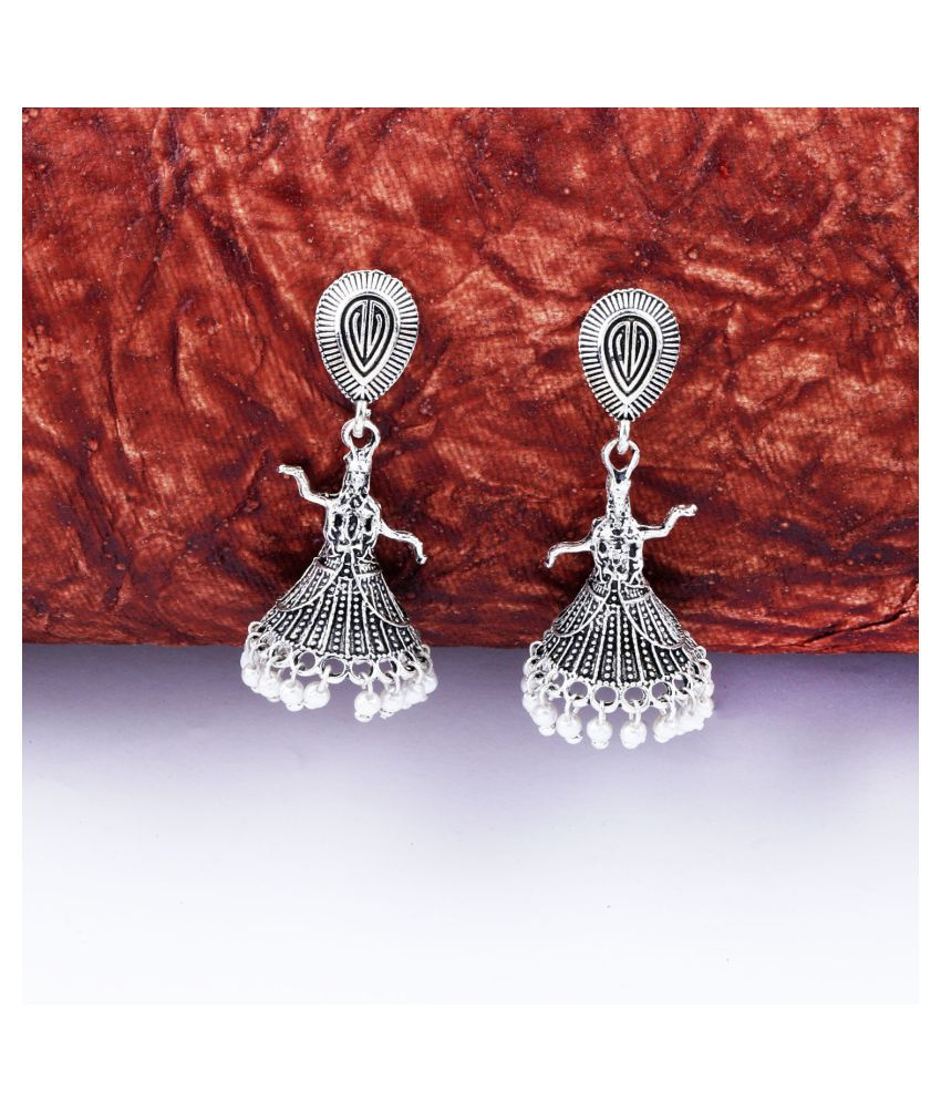 Attractive Silver Dancing Women Jhumki Earrings