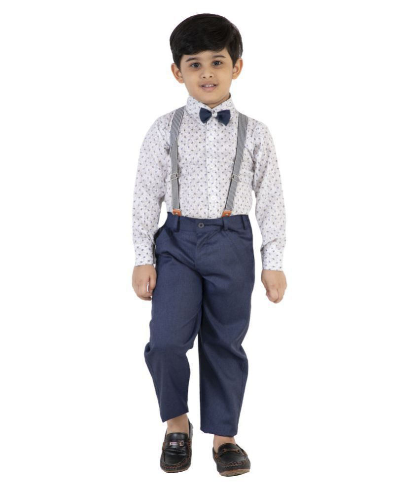 Fourfolds Ethnic Wear 2 Piece Suit Set with Bow-Tie, Shirt and Trousers for Kids and Boys_FC048