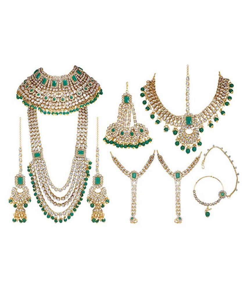 Jaishree Jewels Alloy Golden Contemporary Designer Gold Plated Necklaces Set