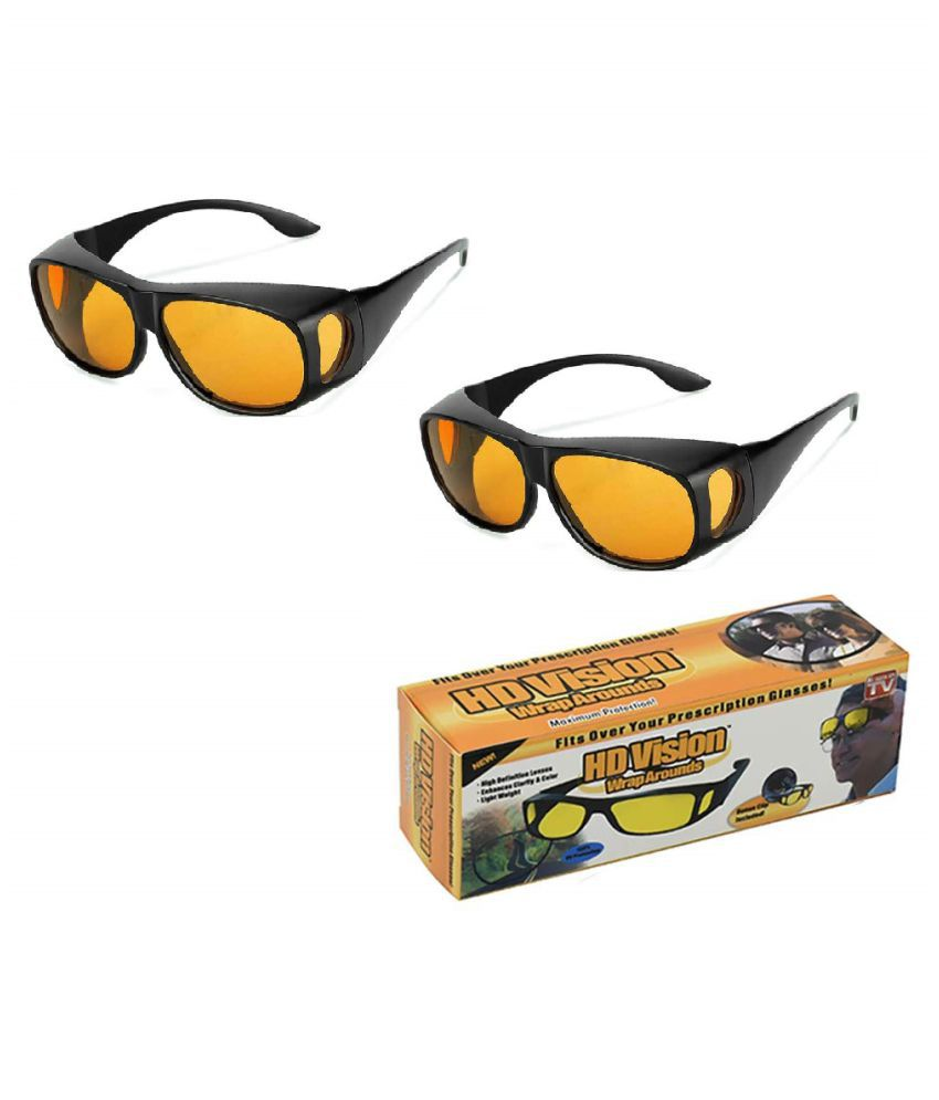 Night vision glasses Hd Vision Anti Glare Sunglasses Goggles Wrap Around Day & Night Driving (Yellow) 2Pcs