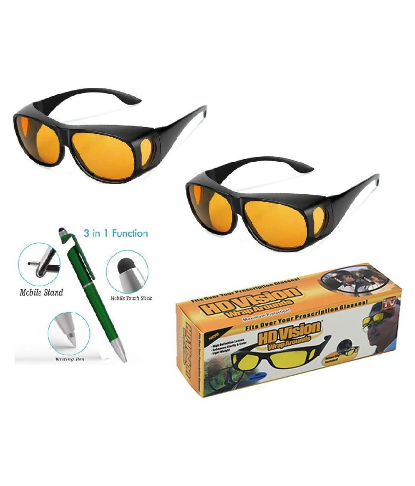 HD Night Day Vision Car Driving Wrap Around Anti Glare Sunglasses with Polarized Lens for Man and Women (Yellow) Set of 2 With Free 3 in 1 Wipe Pen
