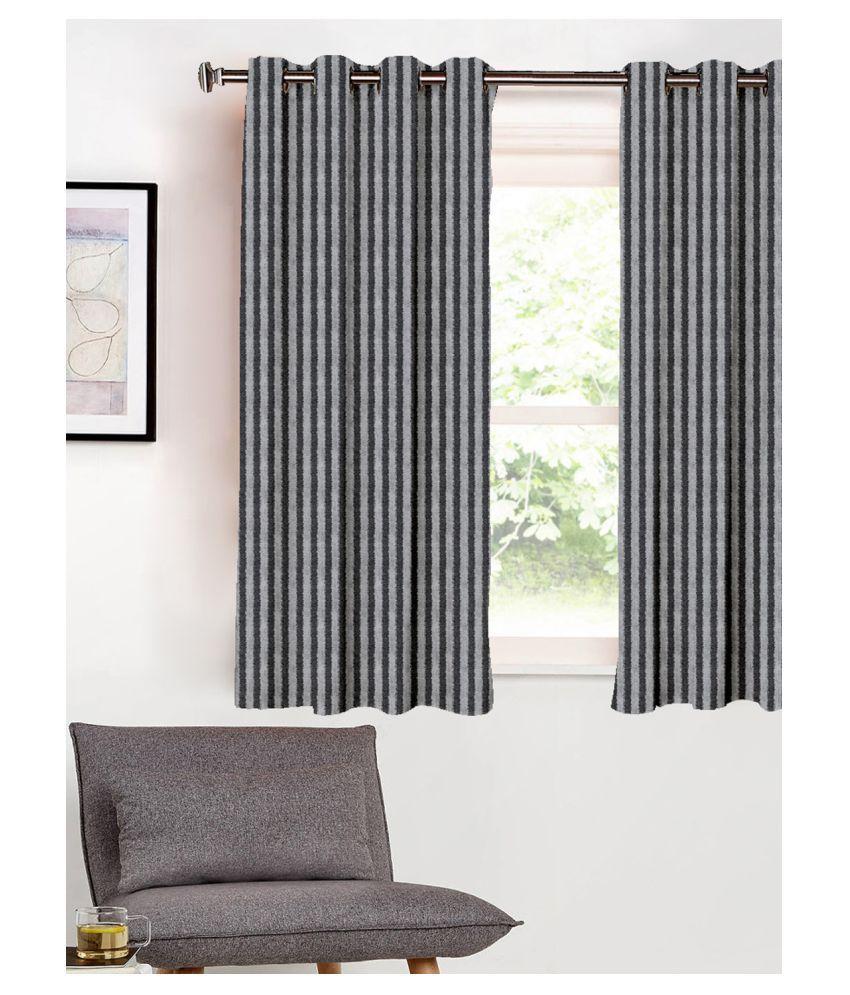 SHIVANAA HOMES Single Window Blackout Room Darkening Eyelet Poly Cotton Curtains Black