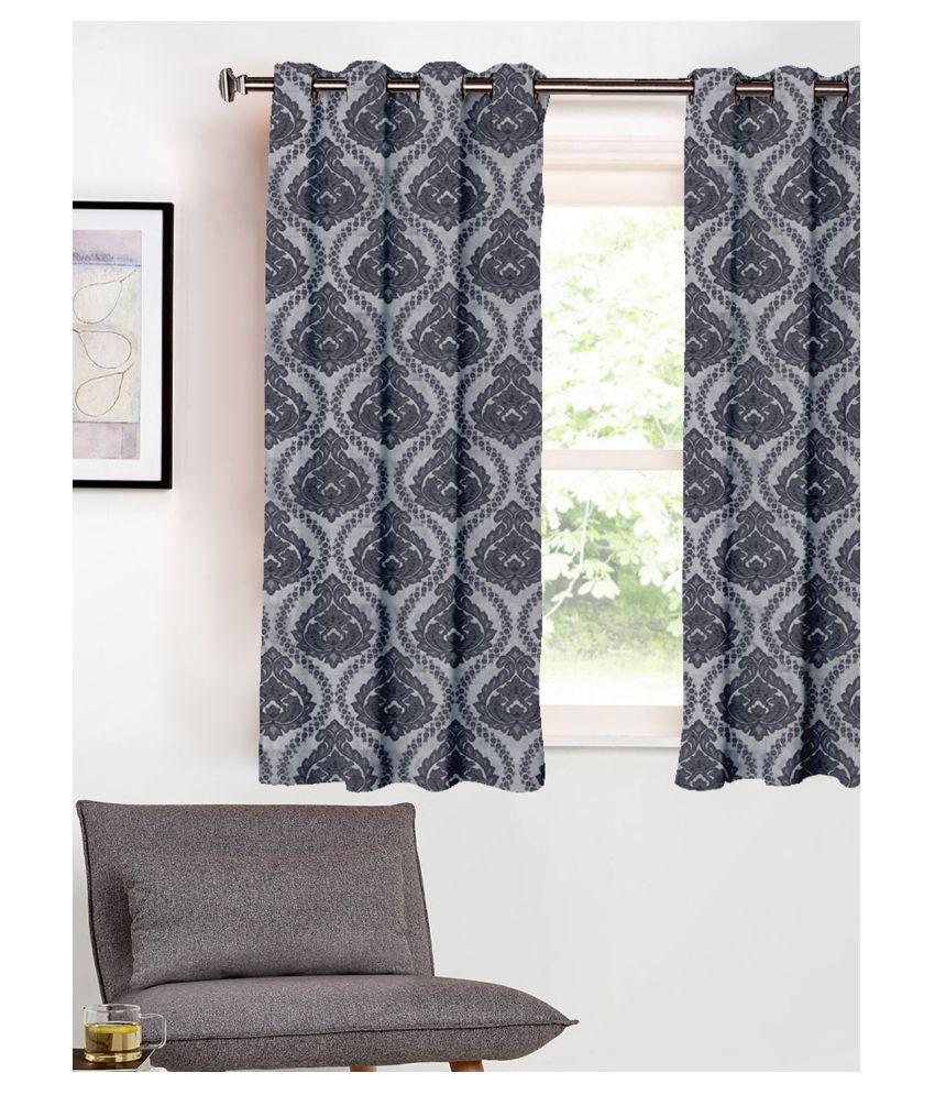SHIVANAA HOMES Single Window Blackout Room Darkening Eyelet Poly Cotton Curtains Grey